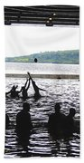Sailors Play Football During A Swim Beach Towel