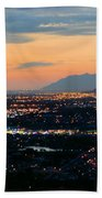 Salt Lake Nightscape Beach Towel