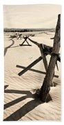 Sand And Fences Beach Towel by Heather Applegate
