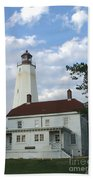 Sandy Hook Lighthouse And Building Beach Towel
