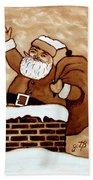 Santa Claus Gifts Original Coffee Painting Beach Towel