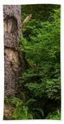 Sasquatch Rubbing Tree Beach Towel