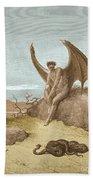 Satan Finding Serpent, By Dore Beach Towel