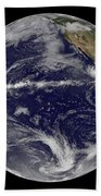 Satellite Image Of Earth Centered Beach Towel by Stocktrek Images