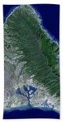 Satellite Image Of Oahu, Hawaii Beach Towel