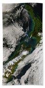 Satellite View Of New Zealand Beach Towel