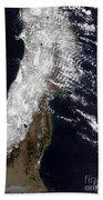 Satellite View Of Northeast Japan Beach Towel by Stocktrek Images