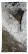 Satellite View Of Snow And Cold Beach Towel
