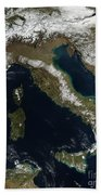 Satellite View Of Snow In Italy Beach Towel
