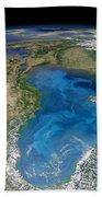 Satellite View Of Swirling Blue Beach Towel