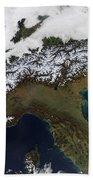 Satellite View Of The Alps Beach Towel