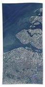 Satellite View Of The Belgium Coastline Beach Towel