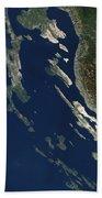 Satellite View Of The Croatian Islands Beach Towel
