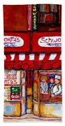 Schwartz's Deli-montreal Street Scenes-painting-by  Quebec Artist-carole Spandau Beach Towel