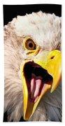 Screaming Eagle II Black Beach Towel