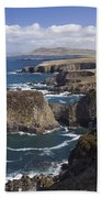 Sea Cliffs And Coastline Near Erris Beach Towel