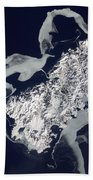 Sea Ice Surrounds The Volcanic Island Beach Towel by Stocktrek Images