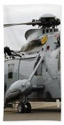 Sea King Helicopter Of The Royal Navy Beach Towel by Luc De Jaeger