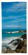 Sea Landscape With Beach Coast Rocks And Blue Sky Beach Towel