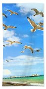 Seagulls At Worthing Sussex Beach Towel