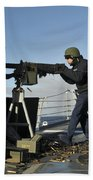 Seaman Fires A .50 Caliber Machine Gun Beach Towel
