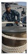 Seaman Runs A Mooring Line Beach Towel
