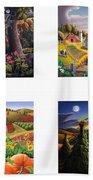 seasonal farm country folk art-set of 4 farms prints amricana American Americana print series Beach Towel