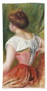 Seated Young Woman Beach Towel by Pierre Auguste Renoir