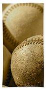 Sepia Baseballs Beach Towel