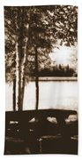 Sepia Picnic Table Beach Towel