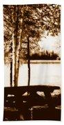 Sepia Picnic Table Lll Beach Towel