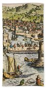 Seville: Departure, 1594. /ndeparture For The New World From Sanlucar De Barrameda, The Port Of Seville, Spain. Line Engraving, 1594, By Theodor De Bry Beach Towel