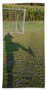 Shadow From A Football Player Beach Towel
