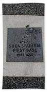 Shea Stadium First Base Beach Towel by Rob Hans