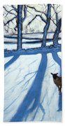 Sheep In Snow Beach Towel