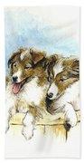 Sheltie Pups Beach Towel