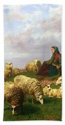 Shepherdess Resting With Her Flock Beach Towel by Edmond Jean-Baptiste Tschaggeny