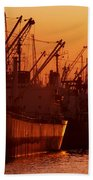 Shipping Freighters At Sunset Beach Towel