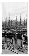 Ships In Harbour 1900 Beach Towel