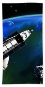 Shuttle On Orbit Beach Towel