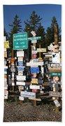 Sign Posts Forest In Watson Lake Yukon Beach Sheet