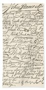 Signatures Attached To The American Declaration Of Independence Of 1776 Beach Towel