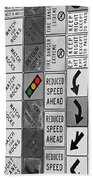 Signs Black And White Beach Towel