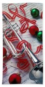 Silver Trumper And Christmas Ornaments Beach Sheet