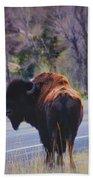 Single Buffalo In Yellowstone Np Beach Towel