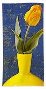 Single Yellow Tulip In Yellow Vase Beach Towel
