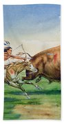 Sioux Hunting Buffalo On Decorated Pony Beach Towel