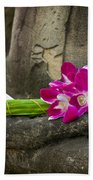 Sitting Buddha In Meditation Position With Fresh Orchid Flowers Beach Towel