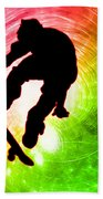 Skateboarder In A Psychedelic Cyclone Beach Towel