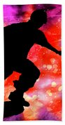Skateboarder In Cosmic Clouds Beach Towel